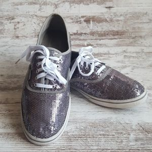 Vans Sparkly Smoky Silver Sequin Sneakers